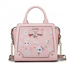 Sac à main kawaii lolita rose - Chats lapins et paillettes