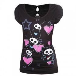 T-shirt femme Noir - Skelanimals, Chat