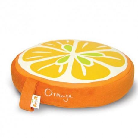 Coussin fruit orange- effet velours